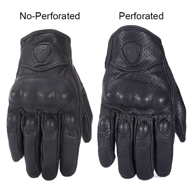 Image 3 - Retro Motorcycle Gloves Pursuit Perforated Real Leather Leather Touch Screen Men Women Moto Waterproof Gloves Motocross Glove-in Gloves from Automobiles & Motorcycles