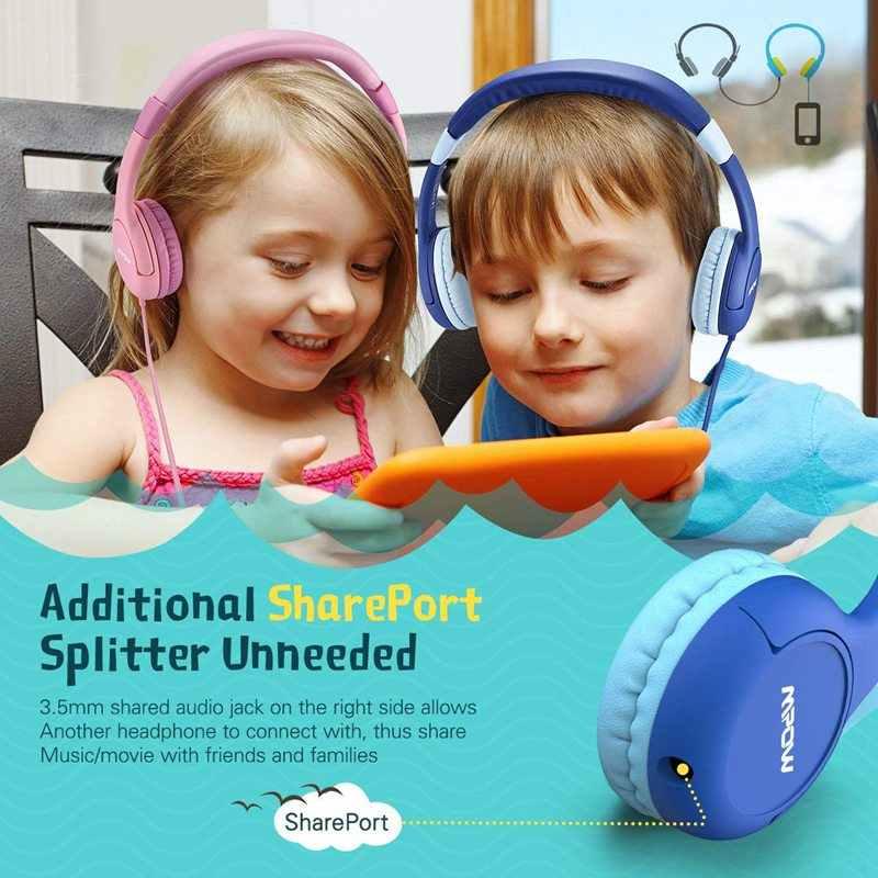 2019 เด็กหูฟังสำหรับ Mpow ชุดหูฟังมีสาย 85dB ปริมาณจำกัดป้องกันแจ็คหูฟังสำหรับเด็ก
