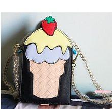 Strawberry ice cream chain small square bag, lolita sweet cute adorable shoulder diagonal mini bag, cell phone bag