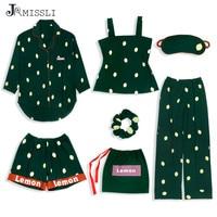 JRMISSLI Autumn Cotton Pajamas Sets for Women 7 Pieces Pijamas Dot Print Sleepwear Elegant Green Nightwear Sexy Sleep Lounge