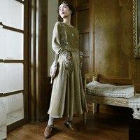 LYNETTE S CHINOISERIE Autumn Women Camel Bark Velvet Handmade Beading Vintage Slim One Piece Dress