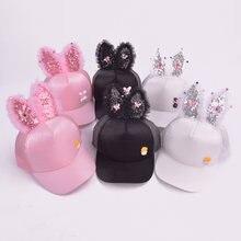d2b010b538f Children Hip Hop Baseball Cap Summer Rabbit Ear Bow Baby Sun Hat Lace  Sequins Girls Mesh Snapback Caps