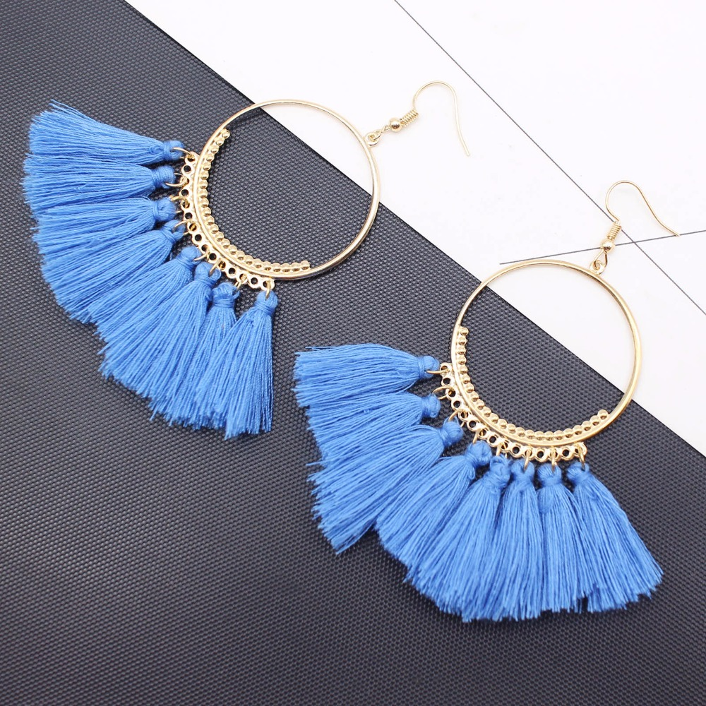 19 Colors round dangling pendant Drop earrings woman fabric tassel earring ethnic bohemian fantasy fringed boucles d'oreille 6