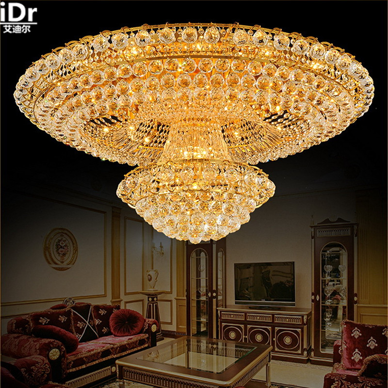 circular golden living room atmosphere Lobby Restaurant Crystal Luxury Hotel Dia1000mm Ceiling Lights Luxury lamp luxury lamp led crystal smoke gray living room restaurant bedroom modern low voltage lights circular fashion ceiling lights