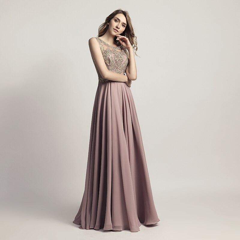 Sleeveless Chiffon Sheer Neck Illusion Back Long Bridesmaid Dress 2