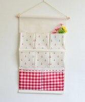 8 Pockets Vintage Linen Closet Hanging Storage Organizer Bags Door Rack Wall Holder Decoration Cosmetic Sundries