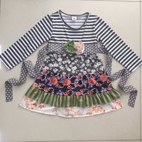 Hot Sale Baby Girls Lovely Ruffle Dress Flower Pattern Striped Sleeve  Kids Clothing Boutique Remake Fall Children Dress CX012