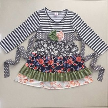 Hot Sale Baby Girls Lovely Ruffle Dress Flower Pattern Striped Sleeve  Kids Clothing Boutique Remake Fall Children Dress CX012
