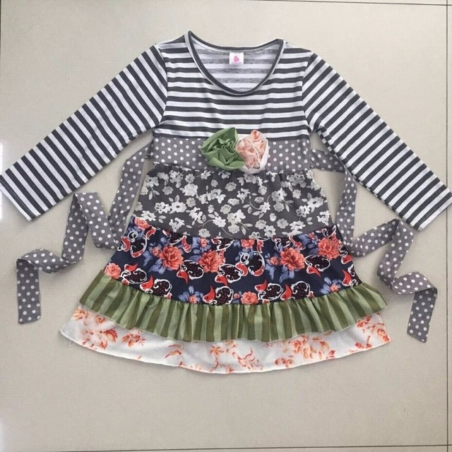 8bdc44754a8b Hot Sale Baby Girls Lovely Ruffle Dress Flower Pattern Striped ...