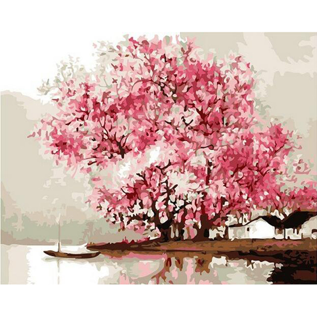 wall Home decoration diy oil painting Pink cherry blossom ...