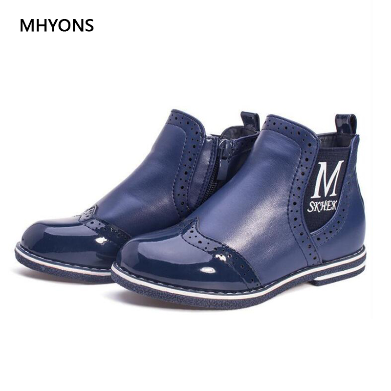MHYONS 2018 New Autumn Winter Kids Boots Girls Shoes Fashion Toddler Boys Girls Warm PU Leather Boots Kids Outdoor Blue Boots mhyons 2018 winter girls boots thick warm shoes cotton padded boys girls boots girls cowhide snow boots kids shoes size 21 30