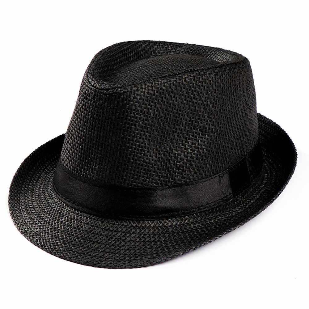 Hot Unisex Women Men Fashion Summer Casual Trendy Beach Sun Straw Panama Jazz Hat Cowboy Fedora hat Gangster Cap 2019