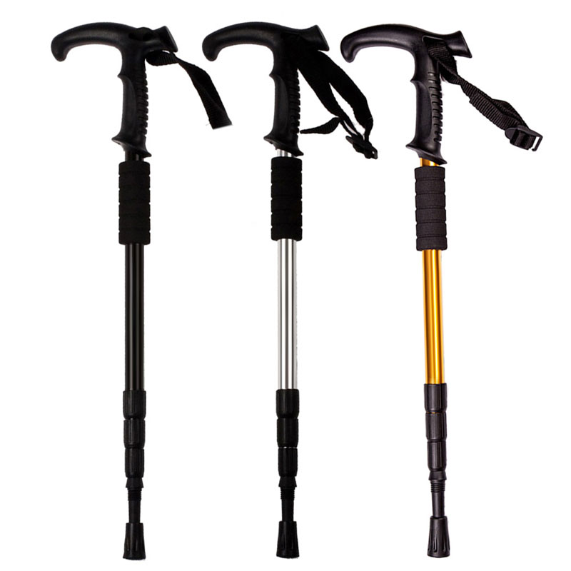 4-section Adjustable Walking Stick for Hiking Walking Trekking Trail Sticks Pole Cane Outdoor Ultralight Walking Cane