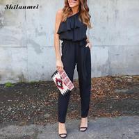 Shilanmei New Chiffon Long Jumpsuit One Shoulder Ruffles Backless Black Solid 2017 Slim Elegant Bandage Fashion