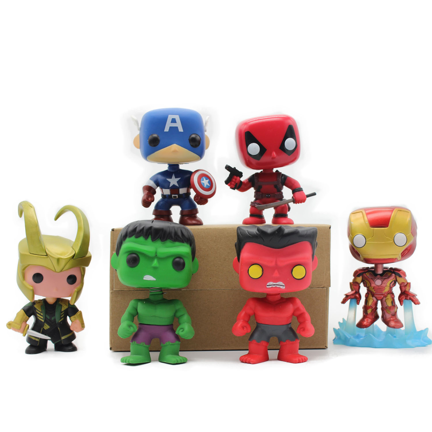 Chanycore Funko pop Bobble Head Figure Marvel Avengers Deadpool Red Hulk LOKI Captian America Iron Man PVC Vinyl Figure Toy gift  funko pop marvel the hulk no 08 red hulk no 31 iron man vinly bobble head pvc action figure collectible model toy gift for kids