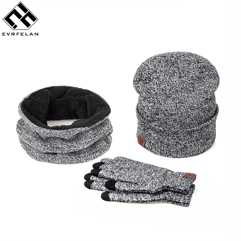 3 Pieces Set New Brand Women Winter Hat And Gloves Cotton