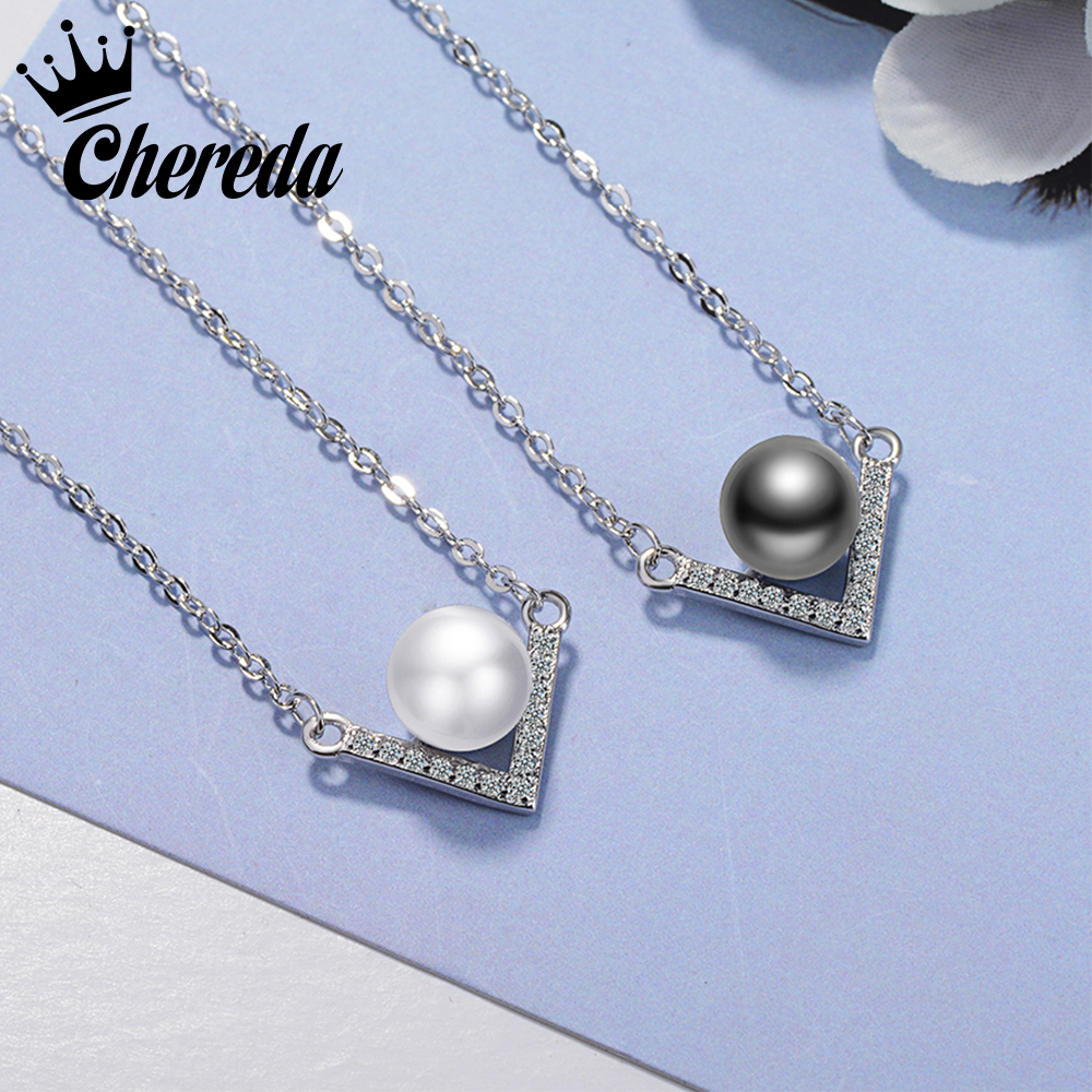 Chereda White Black Color Imitation Pearls Necklaces for Women V Trendy Statement Charm Jewelry Christmas Fine Gift Pendants