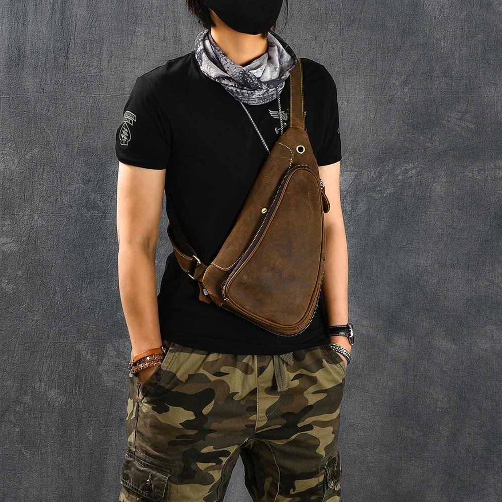 Men Genuine Leather Cowhide Vintage Sling Chest Back Day Pack earphone Travel Fashion Women Cross Body Messenger Shoulder Bag