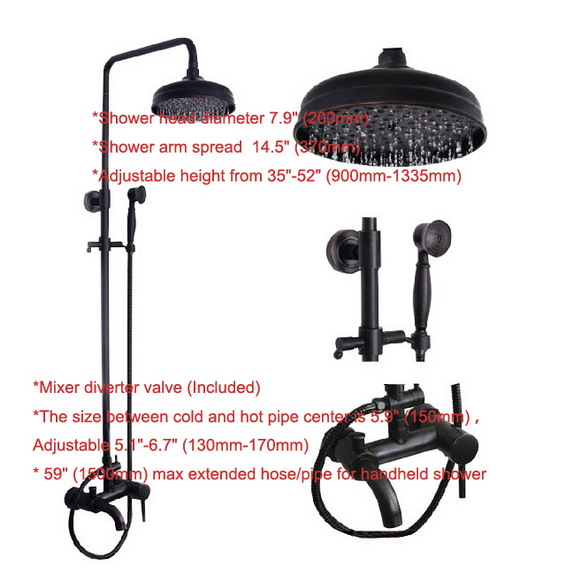 Bathroom Rainfall Shower System Faucet Set Black Oil Rubbed Bronze Tub Mixer tap Telephone Style Handheld Shower Head ars023