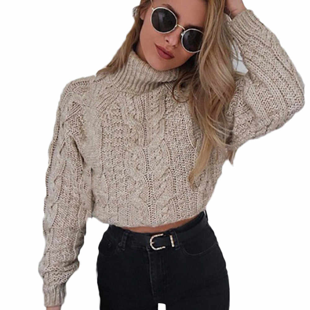 9f278b93de4 Women Winter Long Sleeve High collar sexy umbilical twist Casual Knitted  Female Jumper Pullover Crop Top