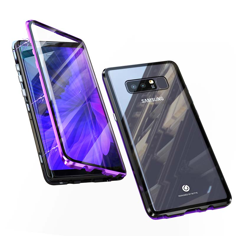 Luxury Aluminum Metal Magnetic Case 360 Front+Back Double-Sided Tempered Glass Adsorption Coque For Samsung Galaxy Note8  KS0088Luxury Aluminum Metal Magnetic Case 360 Front+Back Double-Sided Tempered Glass Adsorption Coque For Samsung Galaxy Note8  KS0088