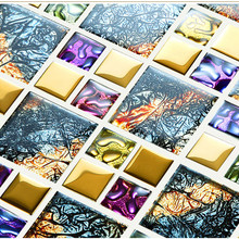 iridescent symphony gold electroplate crystal glass mosaic tiles for wall sticker - Mosaic Tile House 2015