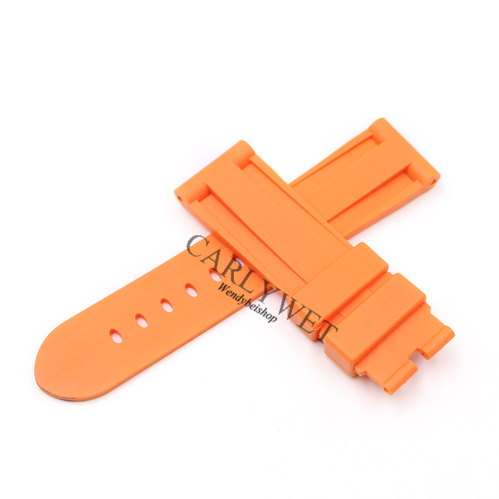 CARLYWET 24mm Wholesale Newest Orange Waterproof Silicone Rubber Replacement Wrist Watch Band Strap For Luminor in Watchbands from Watches