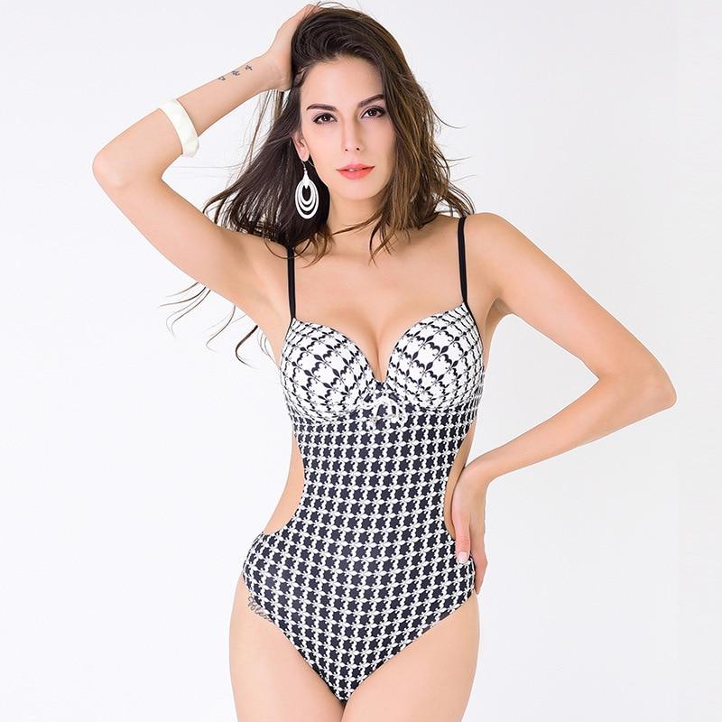 где купить One Piece bikini Swimsuit Sexy Swimwear printing Bathing Suit Swim Wear female Biquini Bandage Women Bikini Large size XS-XL по лучшей цене