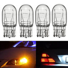 Lâmpada drl 4 unidades t20 7443 7440 21/5w, halógena vidro transparente luz de circulação diurna luz de seta, sinal de luz