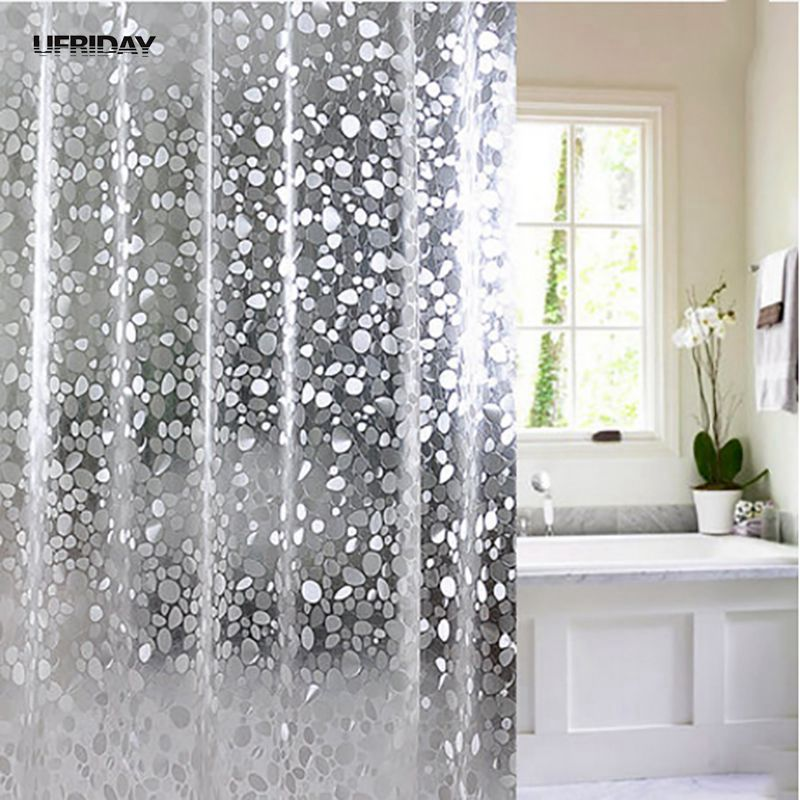 UFRIDAY Brand Transparent EVA Shower Curtain 3D Stone Pattern Vandtæt Bad Gardiner til Gardiner Badeværelse Bling Bath Skærme