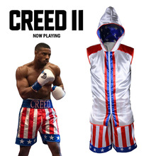 Creed 2 Costume Adonis Johnson Boxing Suit Adult Mens Sports Uniform Revenge Cosplay Hoodie Vest Shorts