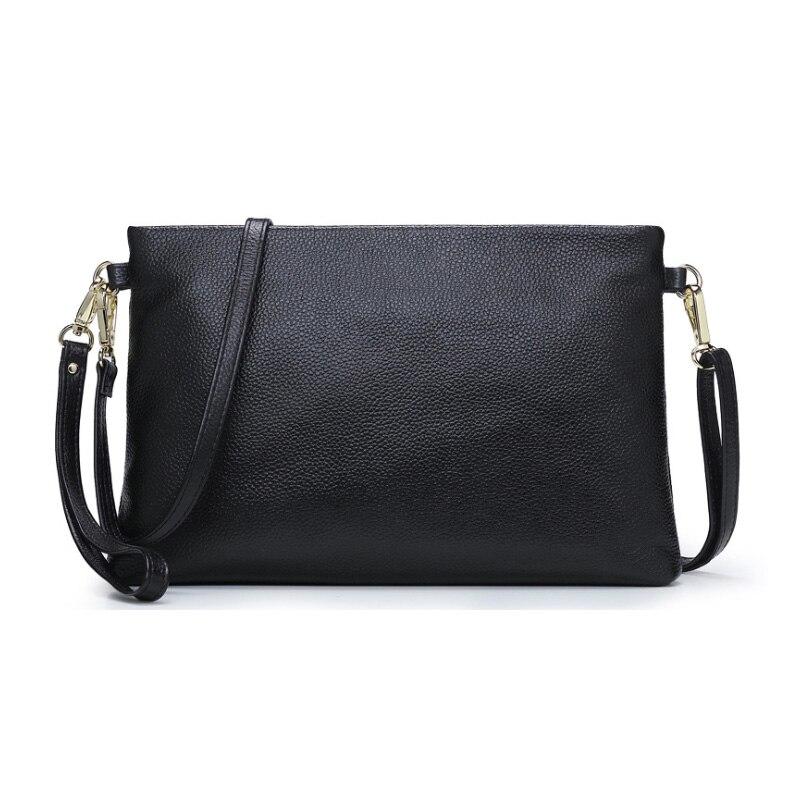 30*19*3 см, большой дневной клатч, iPad мини держатель, Для женщин сумка из настоящей кожи, сумка через плечо, из натуральной коровьей кожи, сумка через плечо A019 - Цвет: Черный