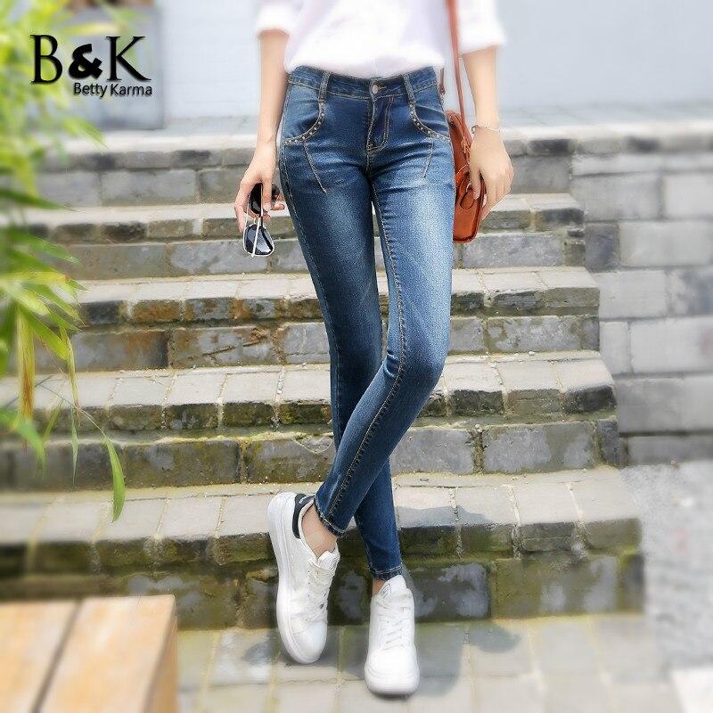 BettyKarma 2017 Slim Jeans Summer Women Cotton Elastic Denim Pencil Pants Plus Size Black Gray Blue 3 Colors Push Up Jeans Femme