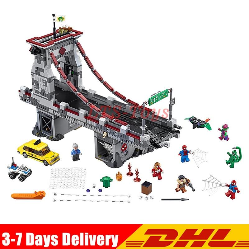Compatible Legoings 76057 LEPIN 07038 1165Pcs Super Hero Spiderman Web Warriors Ultimate Bridge Battle Building Block lepin 07038 1165pcs super heroes series the battle of the supperhero bridge building blocks bricks toys for children