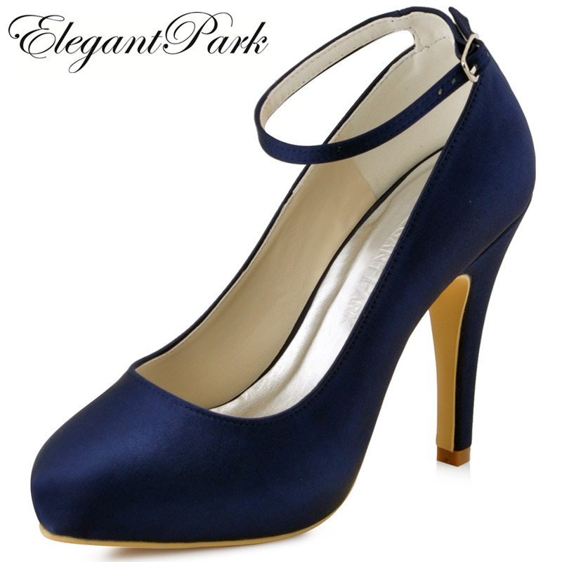 Women Shoes High Heel Platform Ankle Strap Pumps Teal Bridesmaid Satin Bride Prom Dress Evening Wedding Shoes EP11049 Navy Blue