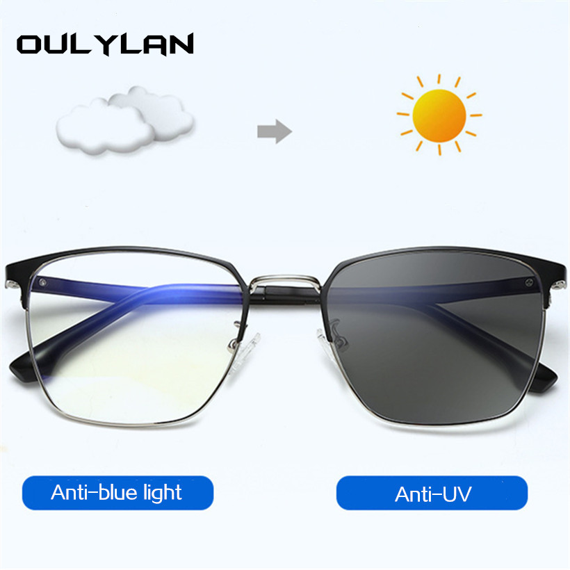 Oulylan Men Anti Blue Light Blocking Glasses Vintage Photochromic Lenses Alloy Frame Eyeglasses Male Computer Gaming Eyewear