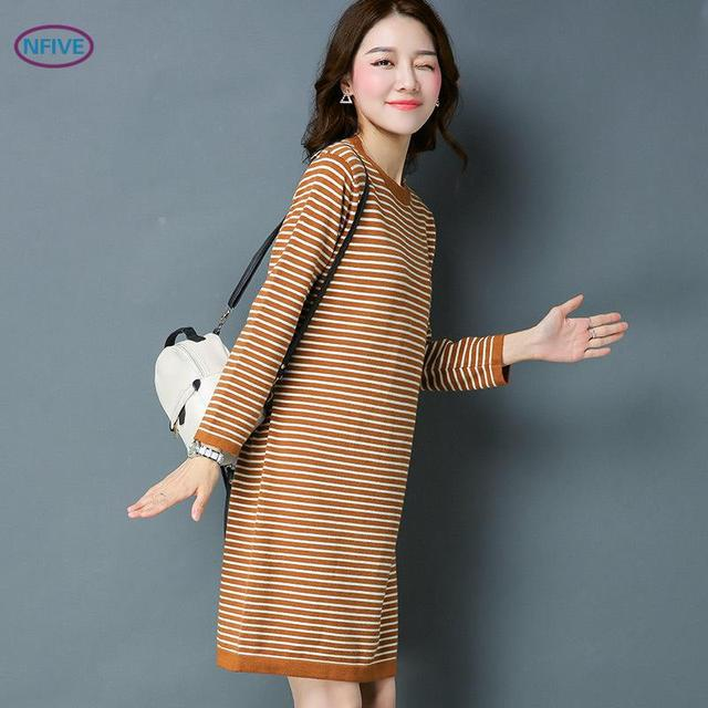 Nfive Brand 2017 Woman Thick Striped Knitting Dresses Korean Middle Long Sleeved Sweater Dress Patchwork Simple