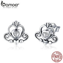BAMOER New Collection 925 Sterling Silver Princess Crown Exquisite Stud Earrings for Women 2018 Earrings Silver Jewelry SCE420(China)