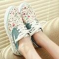 Para mujer Nueva princesa zapatos de lona zapatos de la impresión floral de las mujeres zapatos de moda casual para dama pisos