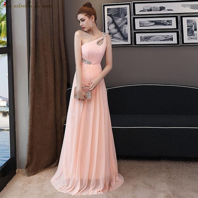 e86706a869 US $85.0 |Vestido madrinha2018 new chiffon crystal one shoulder a Line pink  long bridesmaids dresses plus size wedding party dress-in Bridesmaid ...