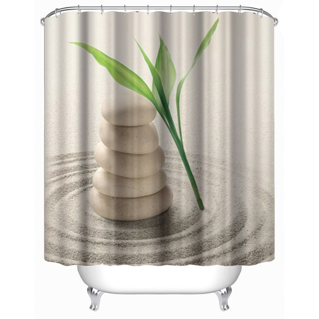 Waterproof Shower Curtains Stones and grass printed Polyester ...