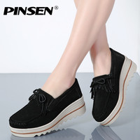 PINSEN New Spring Autumn Moccasin Women S Flats Suede Genuine Leather Shoes Lady Loafers Slip On