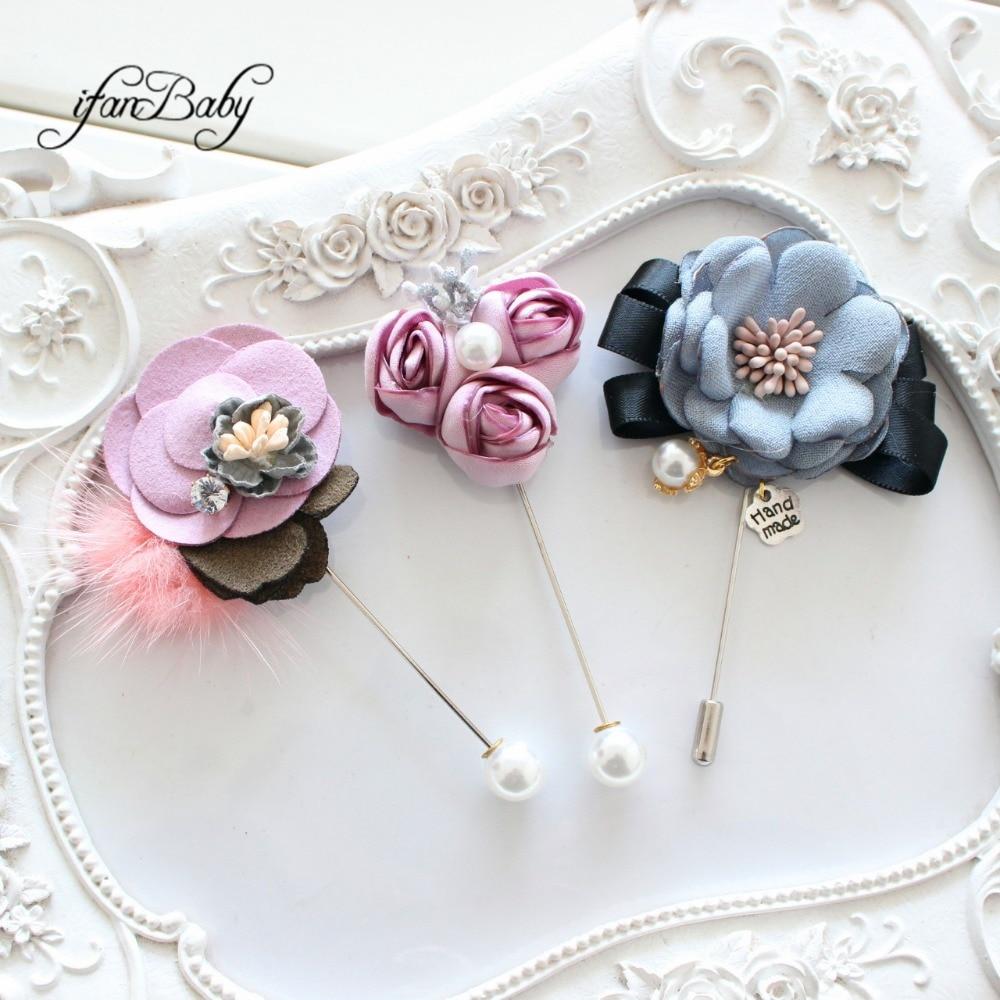 New fashion women men flower pins lapel pin boutonniere fabric burn flower pin for suit wedding