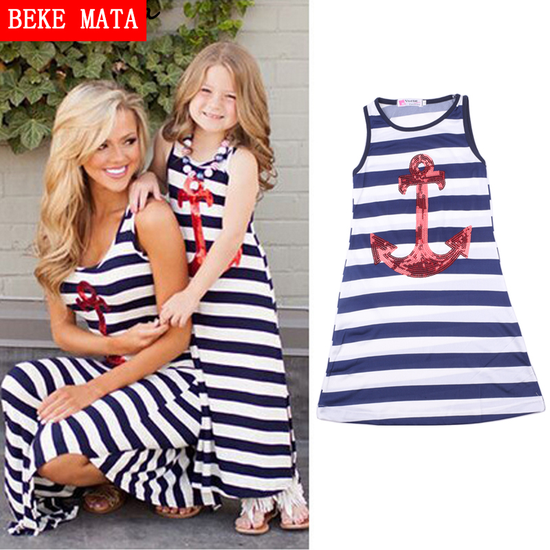 Family Matching Mother Daughter Dresses 2016 Summer Beach Anchor Striped Mother Daughter Clothes Women Kids Girl Long Maxi Dress