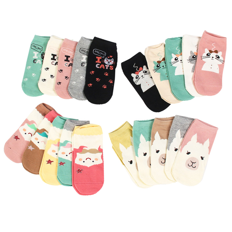 5pairs Women Funny Socks Cute Cartoon Cat Foot Print Cotton Girls Ankle Sock Summer Autumn Comfort Female Lady Meias Hosiery Sox