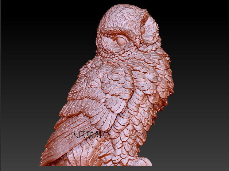 3d model relief for cnc and printer in STL file format owl (4) 流水 盆 養魚