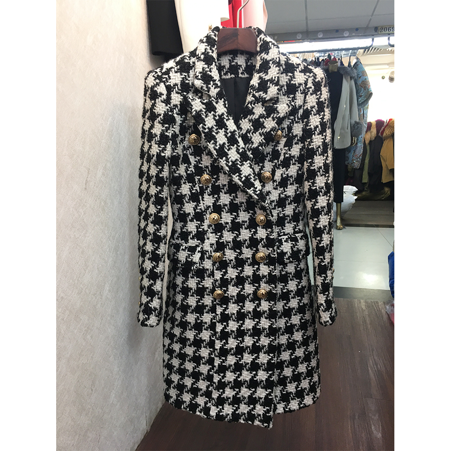 HIGH QUALITY New Stylish 2018 Designer Wool Coat Women s Double Breasted Lion Buttons Houndstooth Tweed