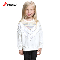 Baby Girls Tassel Decorative Pullovers Fashion National Wind Girls Bottoming Shirt Kids White T Shirts Clothes