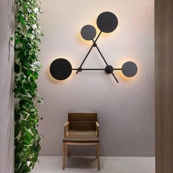 Скандинавские стены гостиной современное минималистическое освещение креативная личность круглая теплая спальня настенная лампа