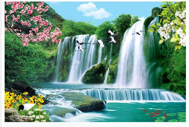 Bird Waterfall Landscape TV Backdrop 3d Wallpaper HD
